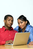 Two Teens With Laptop Computer - Horizontal Stock Image