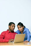 Two Teens With Laptop Computer - Vertical Stock Photography