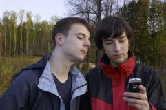 Two teens outdoor Stock Images