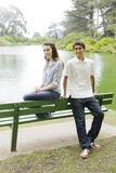 Two Teens in Park Royalty Free Stock Photos