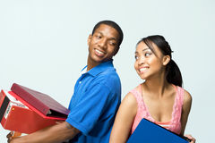 Two Teens Stand Back to Back - Horizontal Stock Photo
