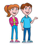 Two Teens Standing and Smiling Royalty Free Stock Image