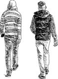 Two teens. Vector sketch of the walking teenagers Royalty Free Stock Images