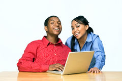Two Teens W/Laptop-Horizontal Stock Images