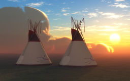 Two Teepees at Sunset Royalty Free Stock Photography