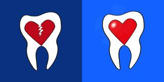 Two teeth with hearts inside Royalty Free Stock Photography