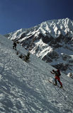 Two Telemark Skiers. Two skiers in telemark skis climbing Galasescu Mare Peak from the Sambata Mare Valley in the Fagaras Mountain region of Romania Stock Photos