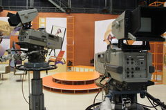Television cameras in studio Stock Photo