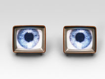 Two Television Sets With Eyes On Screens royalty free stock photos
