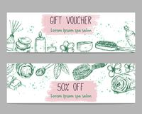 Two templates for discount or gift certificate for spa or beauty salon. With hand drawn elements stock illustration