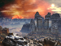 Two Temples in Valley on Alien World Stock Photography
