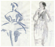 Two tender ballerinas, drawing Stock Photo