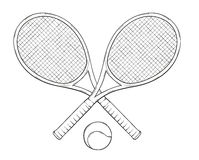 Two tenis rackets and ball Royalty Free Stock Images