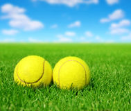Two tennis balls Stock Images
