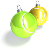 Two tennis christmas balls Stock Photo