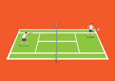 Two Tennis Players Having a Game in Tennis Court Cartoon Vector Stock Image