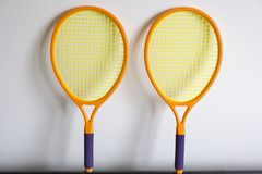 Two tennis rackets for children. Two light tennis racket made of plastics for children stock photo
