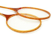 Two tennis rackets isolated on Royalty Free Stock Photography