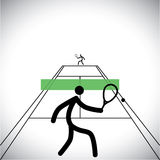 Two tennis sports professional playing a match - vector graphic. Two tennis sports professional playing a game - vector graphic Stock Images