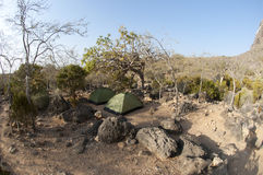 Two tents in desert of Socotra island Stock Photos