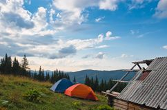 Two tents at highland Royalty Free Stock Image