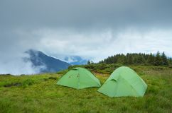 Two tents in the mountains Royalty Free Stock Photography