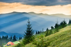 Two tents with view on mountains royalty free stock images
