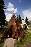 Two tepees. From theme park on the lake Zuratkul Royalty Free Stock Photography