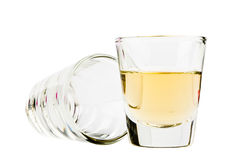 Two tequila shots isolated on white Royalty Free Stock Photo