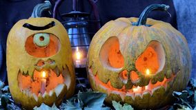 Two terrible pumpkins against dry leaves and an oil lamp. Video for Halloween. Two terrible pumpkins against dry leaves and an oil lamp stock video