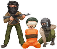 Two terrorists with guns and a victim Stock Photography