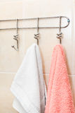 Two terry towels hanging on a hooks. Two terry towels hanging on a hook in the bathroom Stock Images