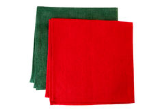 Two textile napkins, green and red, on white Royalty Free Stock Photos