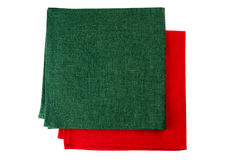 Two textile napkins, green and red, on white Royalty Free Stock Images