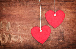 Two Textile pendent hearts Stock Image