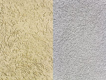 Two textured plaster on the wall. Stock Photos