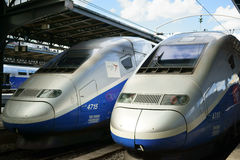 Two TGV train engines Gare de l`Est Paris Stock Photography
