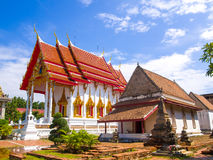 Two Thai art temples, the 200 years old and 10 years old. Thai ancient art Stock Photos