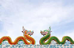 Two thai dragon statue Royalty Free Stock Images