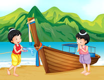 Two Thai girls greeting on the beach Stock Photography