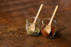Two thai herb on wood table. Herbs on wood table stock images