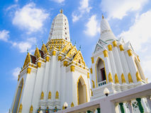 Two of Thai style white pagodas in the church. Stock Images