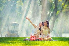 Two Thai woman wearing typical Thai dress, identity culture of T Stock Photos