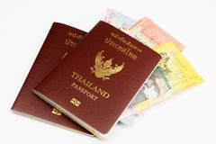 Two Thailand Passports with Australian Dollar Royalty Free Stock Image