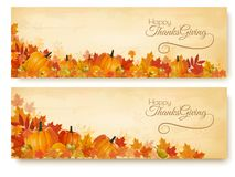 Two Thanksgiving Holiday Banners royalty free illustration