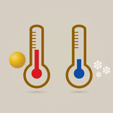 Two thermometers, high and low temperature. Stock Photo