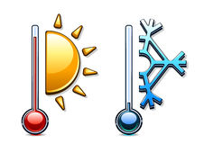 Two thermometers. With sun and snowflake Royalty Free Stock Images