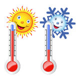 Two thermometers, the sun and snowflake. Two thermometers, high and low temperature. Sun and snowflake with a smile. Vector image Stock Photo