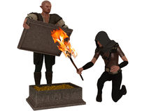 Two thieves examine a chest of golden treasure. Fantasy thieves one burly and elf like with pointed ears holding the lid of treasure while his slender hooded Royalty Free Stock Photo