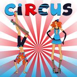Two thin circus girls Royalty Free Stock Photography